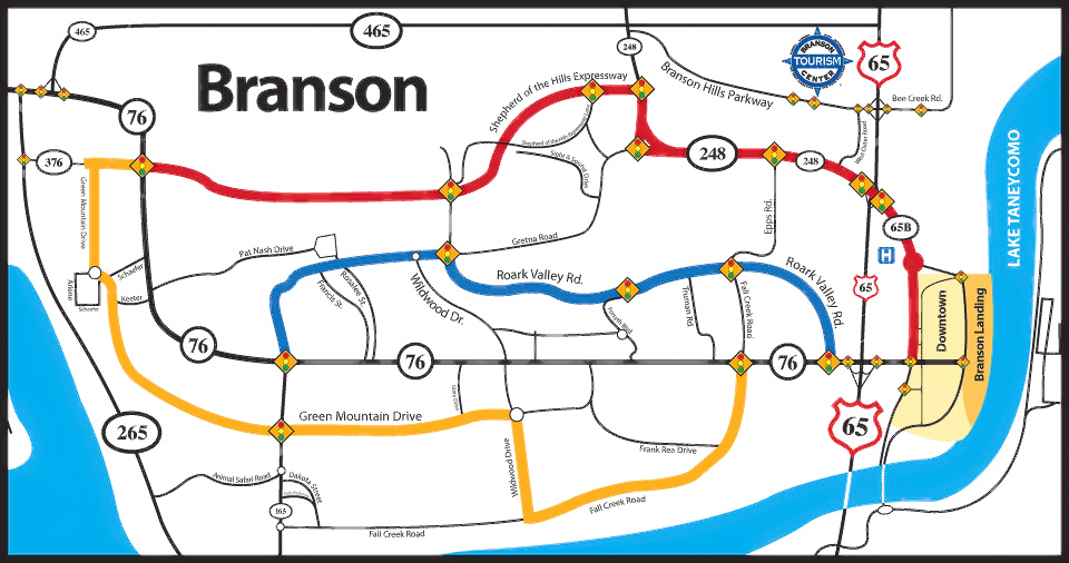 color routes around branson